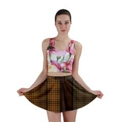 Metallic Geometric Abstract Urban Industrial Futuristic Modern Digital Art Mini Skirt