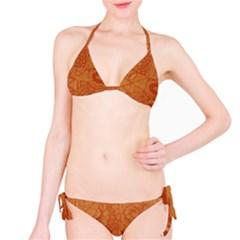 Burnt Amber Orange Brown Abstract Bikini Set