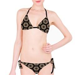 Black Bee Hive Texture Bikini Set