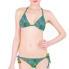 Meow Cat Pattern Bikini Set