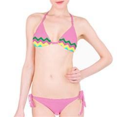 Easter Chevron Pattern Stripes Bikini Set