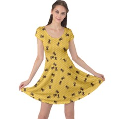 Yellow Pattern Of The Bee On Honeycombs Cap Sleeve Dress