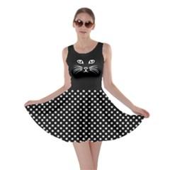 Black Cat Dot Skater Dress