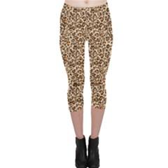 Brown Leopard Pattern Seamless Repeating Animal Capri Leggings