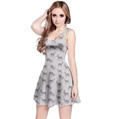 Gray Pattern With Deer In Gray Sleeveless Skater Dress