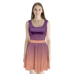 Purple Chevron Split Back Mini Dress