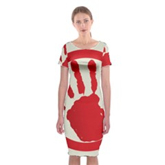 Bloody Handprint Stop Emob Sign Red Circle Classic Short Sleeve Midi Dress