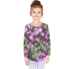 Purple Green Paint Texture             Kids  Long Sleeve Tee