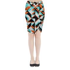 4 Colors Shapes    Midi Wrap Pencil Skirt