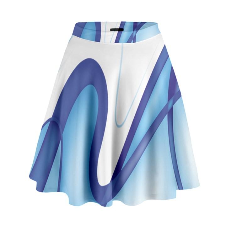 Glittering Abstract Lines Blue Wave Chefron High Waist Skirt