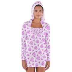 Sweet Doodle Pattern Pink Women s Long Sleeve Hooded T Shirt