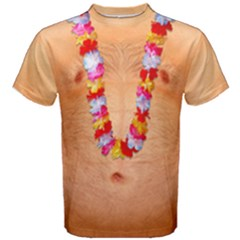 Naked With Hawaii Flower Lei Men s Cotton Tee