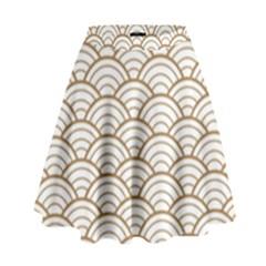 Art Deco,japanese Fan Pattern, Gold,white,vintage,chic,elegant,beautiful,shell Pattern, Modern,trendy High Waist Skirt