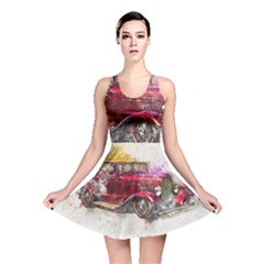 Car Old Car Art Abstract Reversible Skater Dress