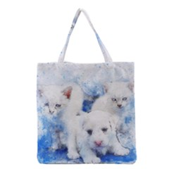 Dog Cats Pet Art Abstract Grocery Tote Bag