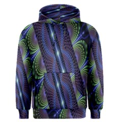 Fractal Blue Lines Colorful Men s Pullover Hoodie