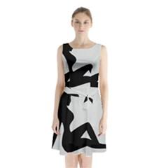 Girls Of Fitness Sleeveless Waist Tie Chiffon Dress
