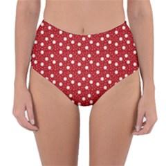 Floral Dots Red Reversible High Waist Bikini Bottoms
