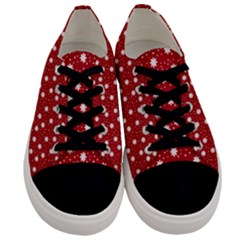 Floral Dots Red Men s Low Top Canvas Sneakers