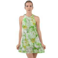 Light Floral Collage  Halter Tie Back Chiffon Dress