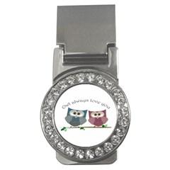 Owl Always Love You, Cute Owls Money Clip With Gemstones (round)