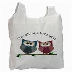 Owl Always Love You, Cute Owls Single Sided Reusable Shopping Bag