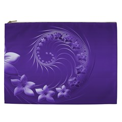 Violet Abstract Flowers Cosmetic Bag (xxl)