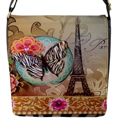 Fuschia Flowers Butterfly Eiffel Tower Vintage Paris Fashion Flap Closure Messenger Bag (small)