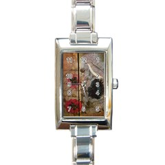 Vintage Bird Poppy Flower Botanical Art Rectangular Italian Charm Watch