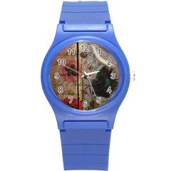 Vintage Bird Poppy Flower Botanical Art Plastic Sport Watch (small)