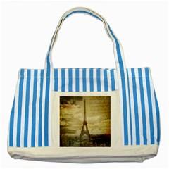 Elegant Vintage Paris Eiffel Tower Art Blue Striped Tote Bag