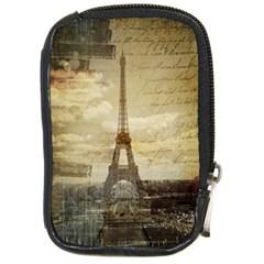 Elegant Vintage Paris Eiffel Tower Art Compact Camera Leather Case