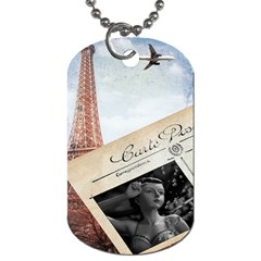 French Postcard Vintage Paris Eiffel Tower Dog Tag (one Sided)