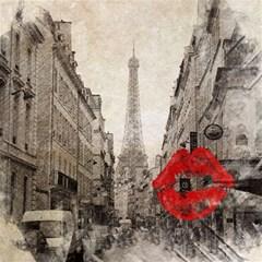 Elegant Red Kiss Love Paris Eiffel Tower Canvas 16  X 16  (unframed)