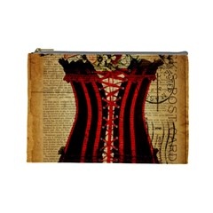 Black Red Corset Vintage Lily Floral Shabby Chic French Art Cosmetic Bag (large)