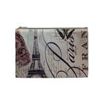 Vintage Scripts Floral Scripts Butterfly Eiffel Tower Vintage Paris Fashion Cosmetic Bag (Medium) Front
