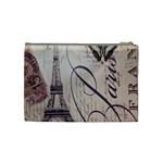 Vintage Scripts Floral Scripts Butterfly Eiffel Tower Vintage Paris Fashion Cosmetic Bag (Medium) Back