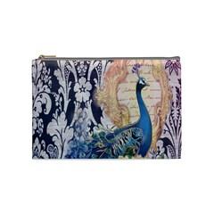 Damask French Scripts  Purple Peacock Floral Paris Decor Cosmetic Bag (medium)