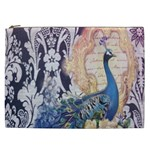 Damask French Scripts  Purple Peacock Floral Paris Decor Cosmetic Bag (XXL) Front