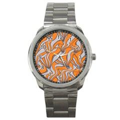 Foolish Movements Swirl Orange Sport Metal Watch
