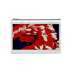 Communist Propaganda He And She  Cosmetic Bag (medium)