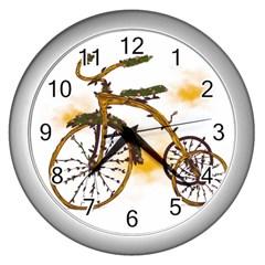 Tree Cycle Wall Clock (silver)