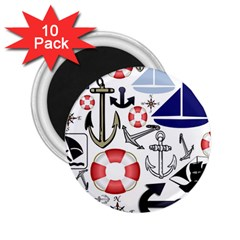 Nautical Collage 2 25  Button Magnet (10 Pack)
