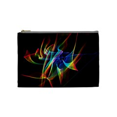 Aurora Ribbons, Abstract Rainbow Veils  Cosmetic Bag (medium)