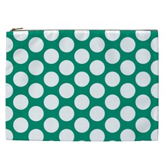Emerald Green Polkadot Cosmetic Bag (xxl)