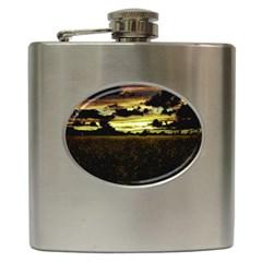 Dark Meadow Landscape  Hip Flask