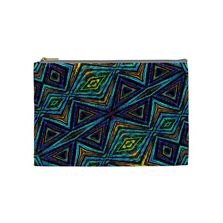 Tribal Style Colorful Geometric Pattern Cosmetic Bag (Medium)