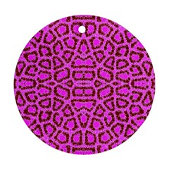 Florescent Pink Animal Print  Round Ornament