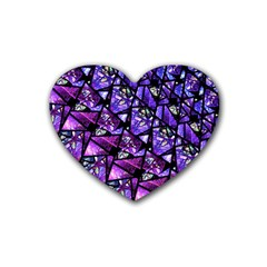 Blue Purple Glass Drink Coasters 4 Pack (heart)