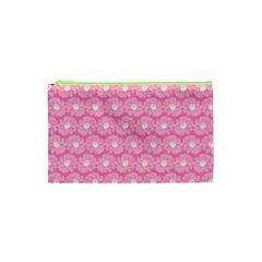 Pink Gerbera Daisy Vector Tile Pattern Cosmetic Bag (xs)